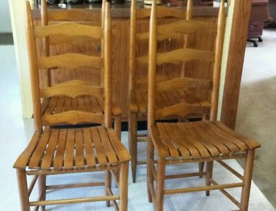 Set Of Four Antique Ladder Back Chairs With Slat Bottom Seats - SET OF FOUR Antique Ladder Back Chairs With Slat Bottom Seats