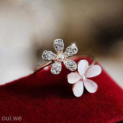Opening Adjustable Lady Jewelery Vintage Retro Alloy Opals Set Auger Flower Ring