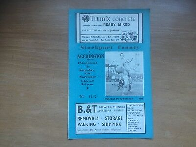 Stockport C v Accrington Stanley FA Cup 1st rd 1961