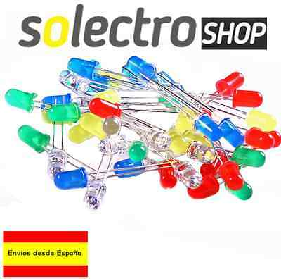 Kit 50 Diodos LED 5mm ROJO VERDE AMARILLO AZUL BLANCO Arduino Electronica P0007