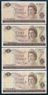 New Zealand: 1967-1977 $1 QEII Portrait. SET of 4 signatures, Fine to VF Cat $63