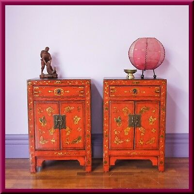 Vintage Pair of Oriental Chinese Bedside Tables Asian Antique style