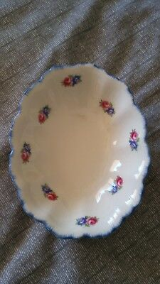 Swinnertons Staffordshire England 'Luxor Vellum' Small Oval Bowl with Blue Trim