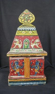 """Vint INDIA 12"""" TALL SHRINE BOX Colorful!  HAND PAINTED WOOD"""
