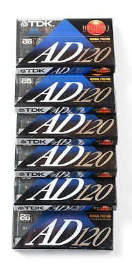 6 blank audio cassette tapes TDK AD120 IEC1/Type 1
