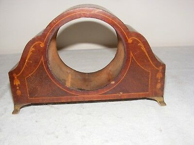 Vintage Mantle Clock Outer Case Inlaid Mahogany Brass Feet Wood Wooden