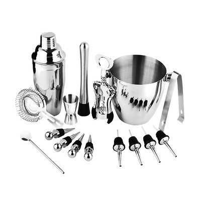 16pcs Cocktail Set Shaker Bar Mixer Stainless Steel Kit Drinks Making Home