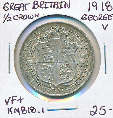 Great Britain Half Crown George V 1918 Km818.1 - Vf+