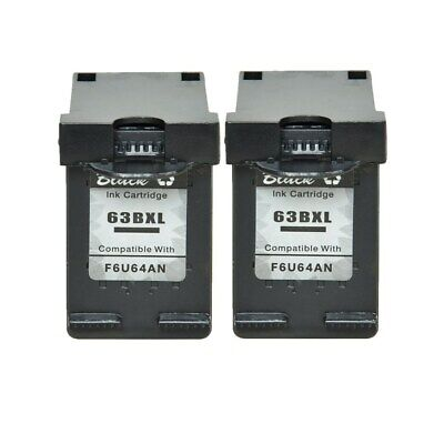 2PK Black Ink Cartridge Compatible for HP 63XL Office Jet 3830 3831 3832 3834