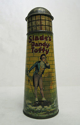English Slade Dandy Toffee Candy Tin Lithograph Toy Lighthouse Candy Container