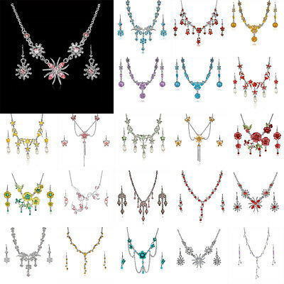 Women Wedding Bridal Flower Butterfly Crystal Pearl Necklace Earring Jewelry Set