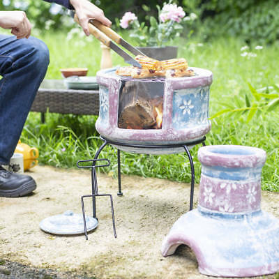 Oxford Barbecues Pershore Clay Chiminea Chimenea With BBQ Grill Patio Heater