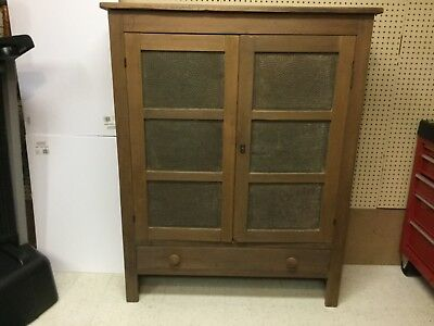Primitive Antique Kitchen Pantry Pie Safe Cupboard, Punched Tin Square Nails