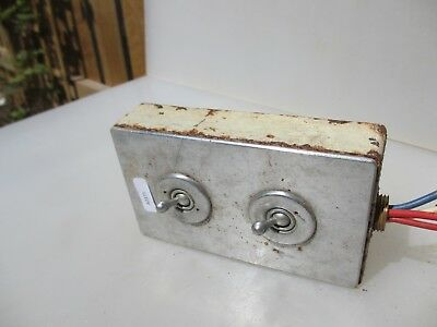 Vintage Nickel Brass Double Light Switch Industrial Art Deco Antiques Iron Old
