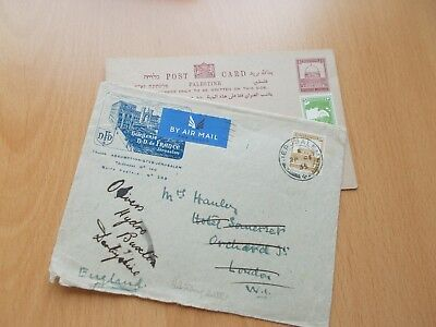Palestine Commercial Mail Cover & postcard. See Pics (fronts & backs) for Info.