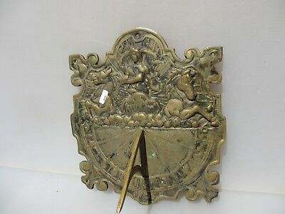 Large Victorian Brass Garden Sundial Ornament Old Roman Numerals Antique