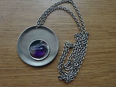VINTAGE 1970's STAINLESS STEEL NECKLACE WITH STONE