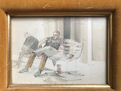 Vintage Mid Century  Drawing Man On Bench Signed  WW 57'