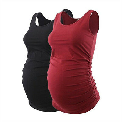 Mama Women Maternity Tank Top Pregnancy Tee Scoop Neck Sleeveless Ruched Vest US