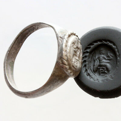 Ancient Greek Silver Seal Ring Depicting Zeus On Throne Circa 300 -100 Bc