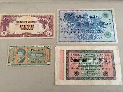 Mixed Lot of 4 Old Bank Notes. Two German, Japanese Gvt $5 and & Ten Cent Note
