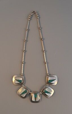 """Vintage Sterling Silver Necklace W. 5 Inlaid Turquoise & Shell Pendants - 18.5"""""""