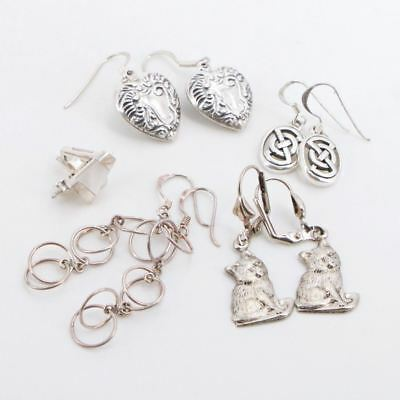 VTG Sterling Silver - Lot of 5 Assorted Earring Pairs NOT SCRAP - 15g