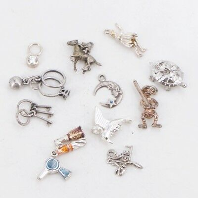 VTG Sterling Silver - Lot of 11 Assorted Charm Pendant NOT SCRAP - 17g