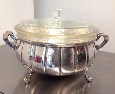 Silver Plated Covered Round Casserole Dish With Pyrex Glass Dish & Lid C1925