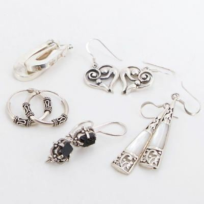 VTG Sterling Silver - Lot of 5 Assorted Earring Pairs NOT SCRAP - 19g