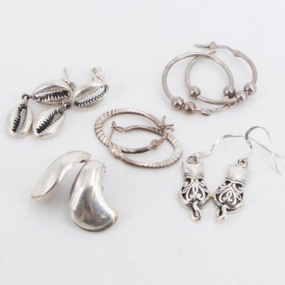 VTG Sterling Silver - Lot of 5 Assorted Earring Pairs NOT SCRAP - 18g