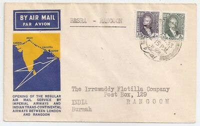 1933 Iraq To India First Flight Cover, Rangoon Pmk, Few Covers Known !
