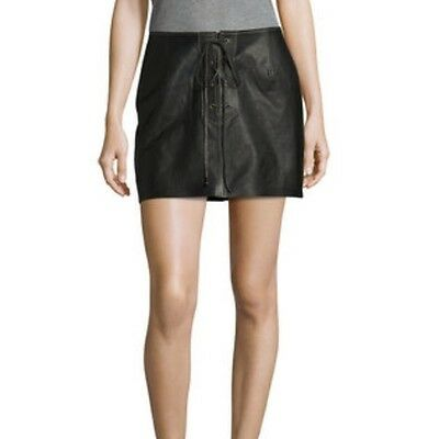 801d2a1b0a FREE PEOPLE WOMENS Join Hands Leather Skirt Front Lace-Up Black Size ...