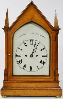 Antique C1846 English Golden Oak Twin Fusee Gong Striking Gothic Bracket Clock