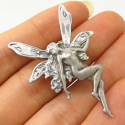 Vtg 925 Sterling Silver Fairy Girl Design Pin Brooch