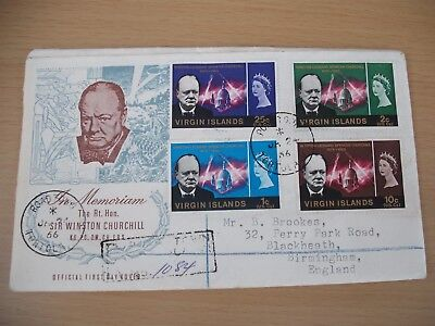 Churchill memoriam Virgin Islands FDC with signed letter from postmaster Tortola