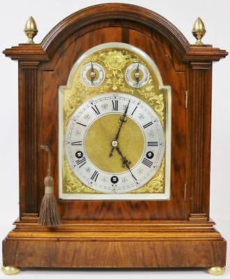 Antique German Lenzkirch Walnut 3 Train Musical Westminster 5 Gong Bracket Clock