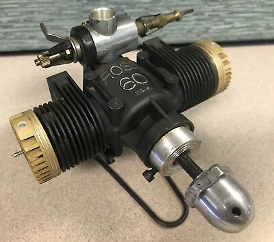 Ross 60 Twin RC model Airplane engine nitro 10 cc Ross .60 rare black and gold