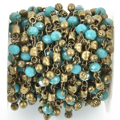 1 yard Crystal Bead Chain 6mm BRONZE with TURQUOISE BLUE Rondelle fch0920a
