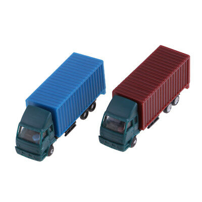 2 Pcs Model Container Truck Figure 1:150 Scale Building Scenery Layout New