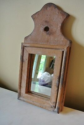 """Vtg Colonial Woodworks Frederick MD Primitive Style Wall Mirror Small  12 1/4"""""""