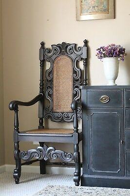 Vintage SpanishWooden High Back Armchair Throne Accent Chair