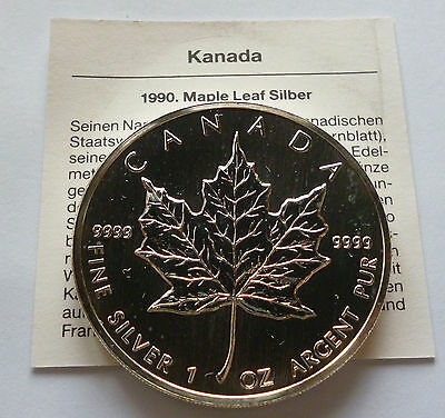 1990 Canada Maple Leaf 1 oz silver UNC with COA