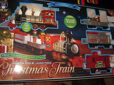 north pole junction christmas train set blue hat toy company new 34 piece set - North Pole Junction Christmas Train