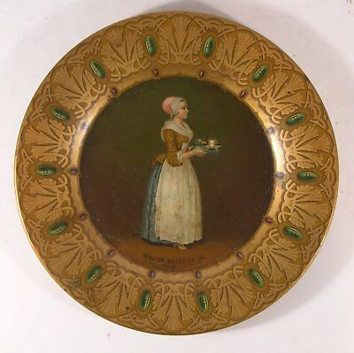 ca1905 WALTHER BAKER CHOCOLATE TIN LITHO ADVERTISING TRAY / VIENNA ART PLATE