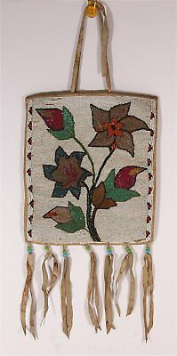 LARGE ca1910s NATIVE AMERICAN NORTHERN CREE INDIAN BEAD DECORATED HIDE FLAT BAG
