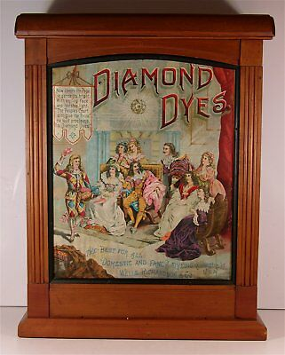 1880's DIAMOND DYE DISPLAY CABINET w/ TIN LITHO SIGN FRONT By WELLS & HOPE