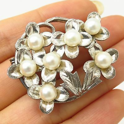 Vtg 925 Sterling Silver Real Pearl Floral Design Pin Brooch