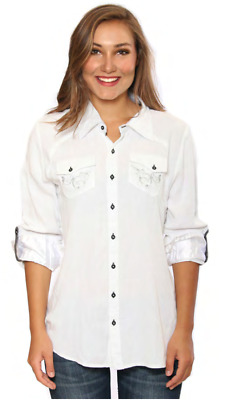 Grace in LA Women's Jeans Embroidered Ladies Shirt White SC-1100070