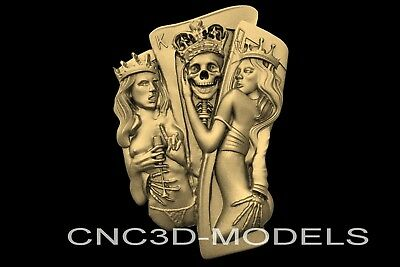 3D Model STL for CNC Router Engraver Carving Artcam Aspire Women Skull n730